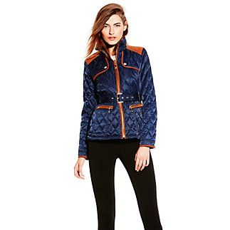 """Transitional Quilted Jacket-A multi-dimensional jacket always looks sophisticated, but to make it the best, the Vince Camuto Transitional Quilted Jacket gets a trendy upgrade with faux-suede patches and contrast trim. A notched belt pulls together the tailored design. This utilitarian piece goes superbly with riding boots.   <li>100% Polyester  <li>Medium: 25"""" length  <li>Machine wash cold, tumble dry"""