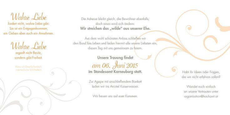 Innenseite (3-4-5) der Hochzeitseinladungskarten. Auf diesen drei Seiten können Sie Ihre persönlichen Hochzeitseinladungstexte unterbringen.