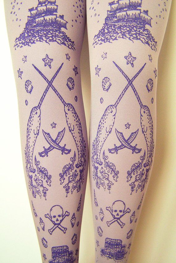 Pirate Printed Tights Narwhal Large Lilac Lavender Women with Skull Anchor Octopus Narwhal and Squid Amethyst on Lavender
