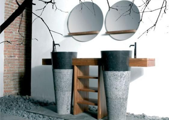 Double sink round mirror by D-Bodhi