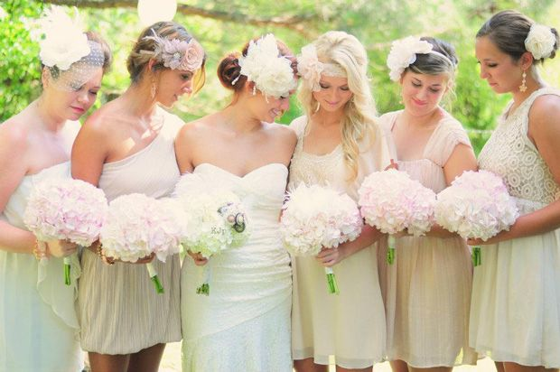 Soft pink and white hydrangea bouquets