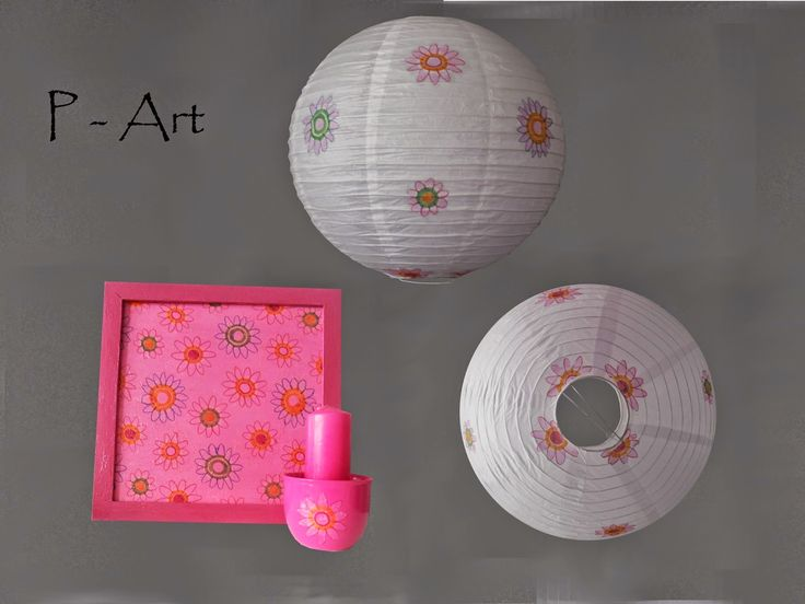 P - ART : LAMPSHADE, PAINTING, CANDLE - FLOWERS