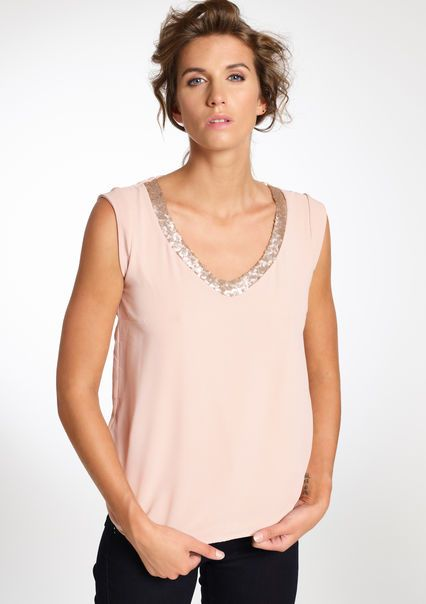 Mouwloze blouse met pailletten details,