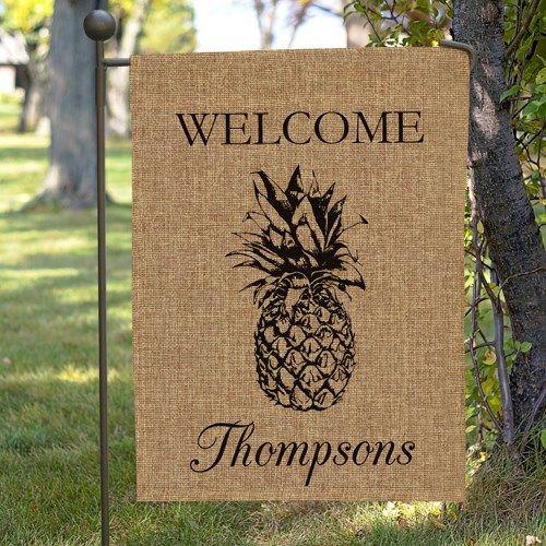 Personalized Pineapple Burlap Garden Flag 830104692BX