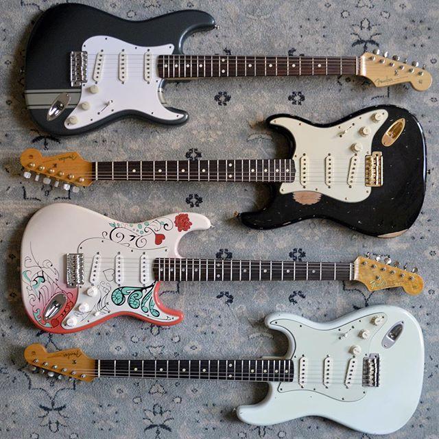 (1) Fender John Mayer Signature Stratocaster, charcoal frost metallic (2) BLK1-esque Stratocaster, Abby handwound 60s pickups (3) Monterey Pop Hendrix Stratocaster (4) Fender Custom Shop Wildwood 10 Sonic Blue Stratocaster