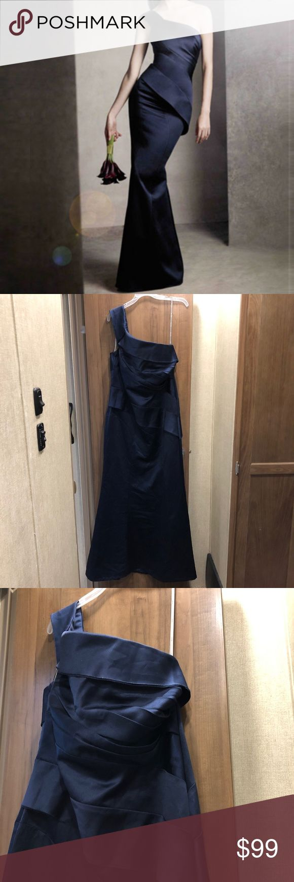 Vera Wang Evening Gown Size 14 (runs small) White By Vera Wang. One Shoulder Dar…