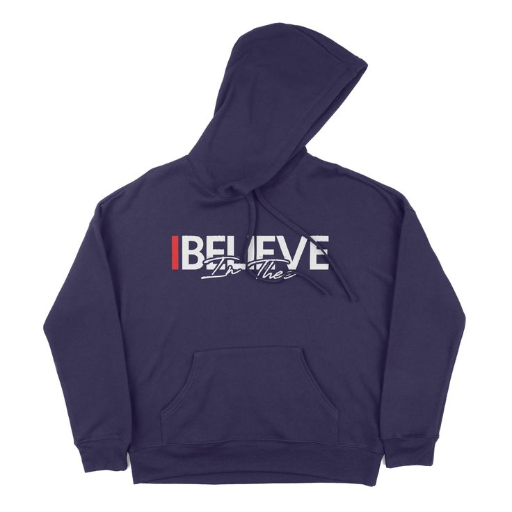 """For the true blue fans of #TheeILove in the age of """"Prime"""" we bring you """"I Believe In Thee"""" hoodie. Features Kangaroo pockets Ribbed cuffs and waistband Unisex sizing Retail fit Side-seamed Dyed-to-match draw cords 52% Airlume combed and ringspun cotton, 48% polyester fleece Measurements (in inches) XS S M L XL 2XL Body Width 21 ⅝ 23 ⅝ 25 27 ⅜ 29 ⅜ 31 ⅜ Body Length 25 ⅝ 26 ⅛ 26 ¾ 28 ¾ 29 ¾ 30 ¾"""