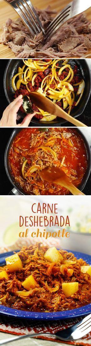 Prepara esta receta mexicana fácil con falda de res o brisket con salsa de chile chipotle adobado. Una receta casera perfecta para cualquier día de la semana.