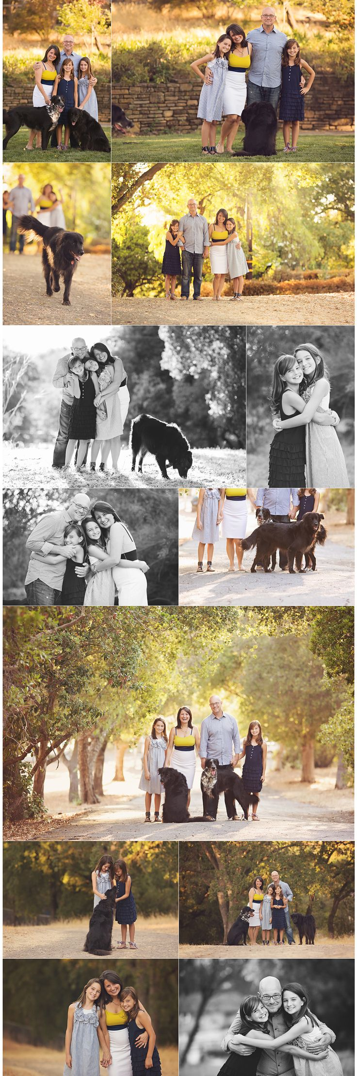 Sweet family shots with young teens and puppies.