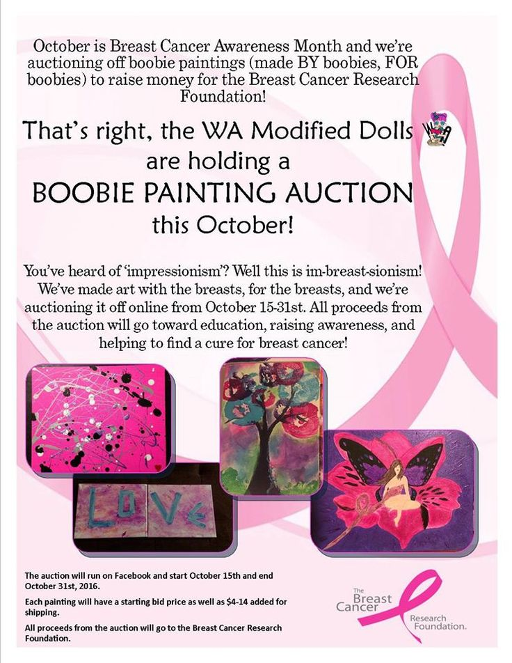 Still time to bid...Check out The Washington State Modified Dolls` latest fundraiser - Boobie Painting Auction to benefit The Breast Cancer Research Foundation. For more information, visit: www.facebook.com/events/1131127380315510/ #ModifiedDolls #WAdolls #NonProfit #fundraising #OnlineAuction #BreastCancerAwareness