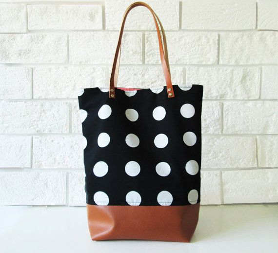Large Polka dot Tote bag, Shoppers bag, Black and white, Casual Tote bag…