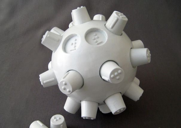 """The """"be-B: Braille Education Ball"""" is a method for both blind and sighted users to learn the Braille system using a challenging and educational game. *Visit pinterest.com/wonderbabyorg for more accessible toy ideas!"""