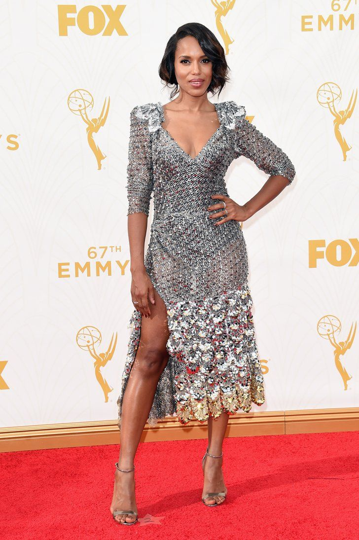 Pin for Later: This Is the Prettiest Way to See All of Tonight's Emmys Dresses Kerry Washington Wearing a Marc Jacobs dress and Casadei heels.