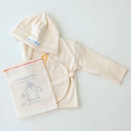 Organic Cotton Baby Cap & Cardigan