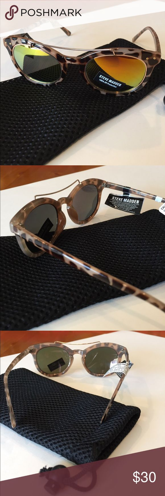 Steve Madden Tortoise Women's Sunglasses /New Elegant tortoise SM sunglasses with reflective gold lens and 100% UV protection ......comes a nice mesh pouch to keep them safe, new but no tags Steve Madden Accessories Sunglasses