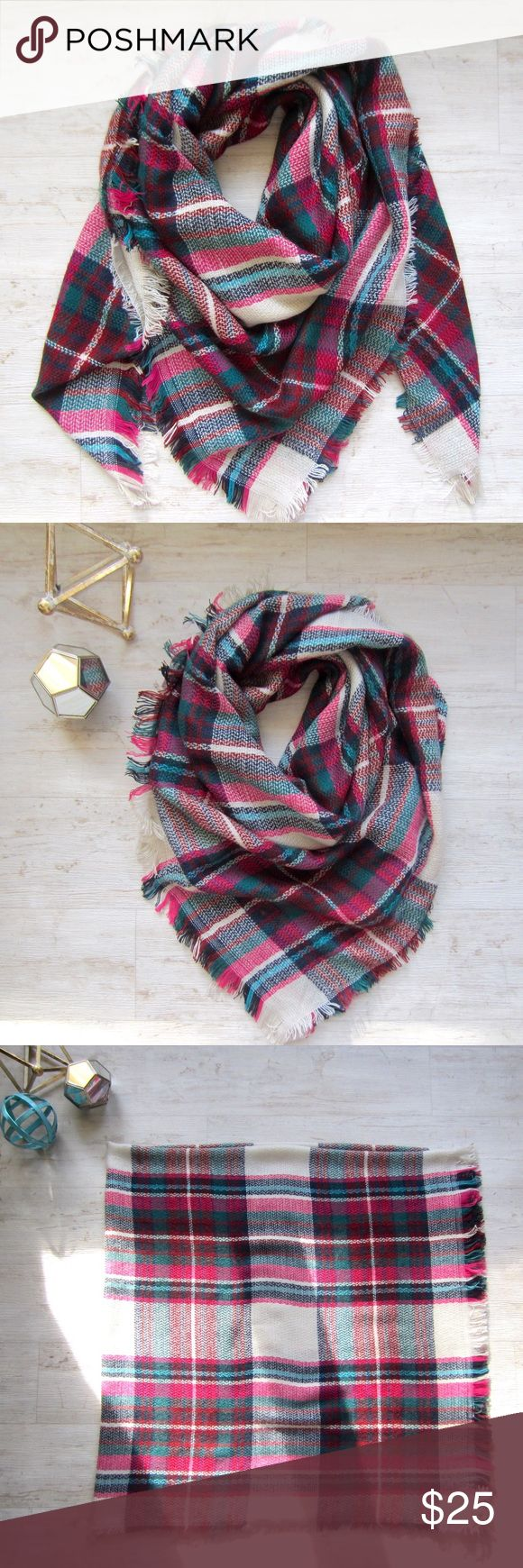 """Pink Tartan Blanket Scarf Ladies, it's time to stock up on this season's must have blanket scarves! Bundle up in this cozy fuchsia pink, green, red & tan plaid scarf. 100% acrylic. 57"""" x 57"""" square. Get yours now before they are gone! 🎀  P.S. Blanket scarves make great Christmas gifts. 😉🌲🎁  Note, I am unable to accept offers on boutique items. Boutique Accessories Scarves & Wraps"""
