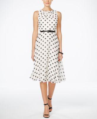 Jessica Howard Belted Polka-Dot A-Line Dress