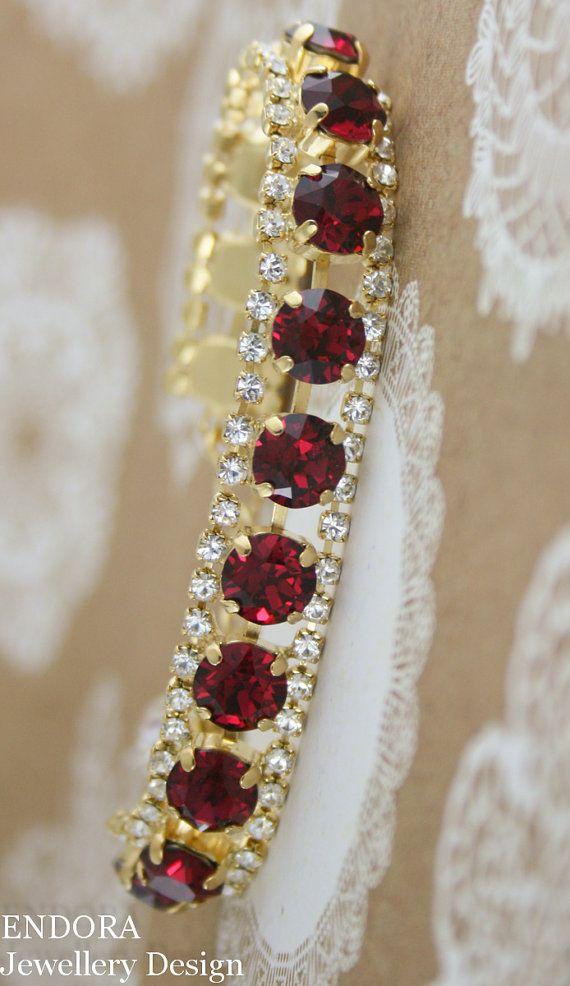 Ruby bracelet | Swarovski Ruby | Red wedding | Ruby wedding | July birthstone | Ruby birthstone jewelry | www.endorajewellery.etsy.com