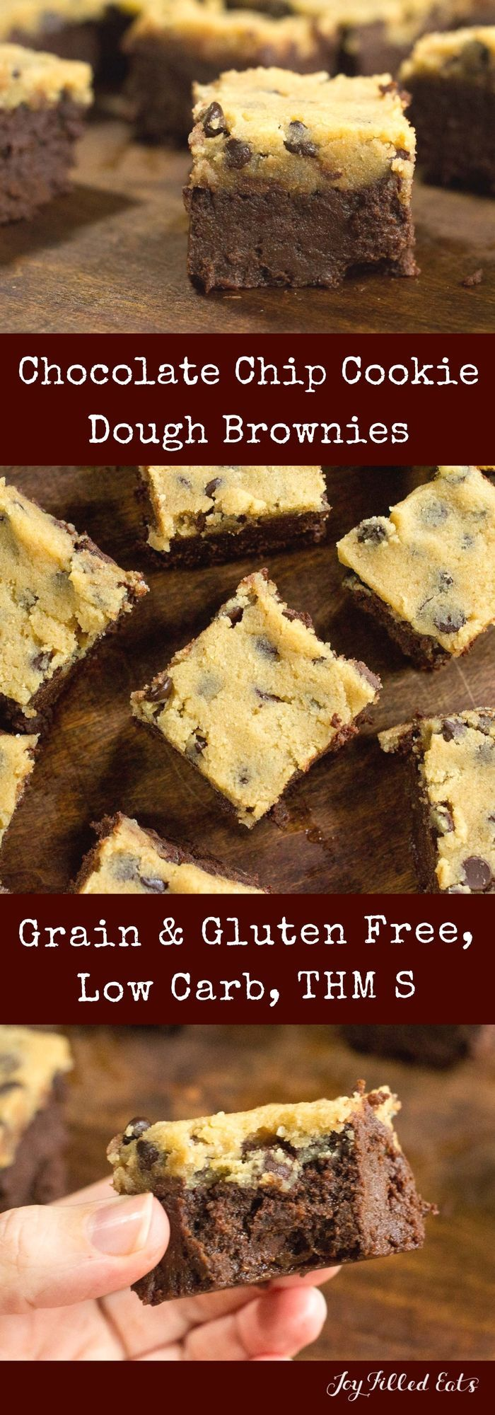 Chocolate Chip Cookie Dough Brownies - Low Carb, Grain/Gluten/Sugar-Free, THM S     via @joyfilledeats