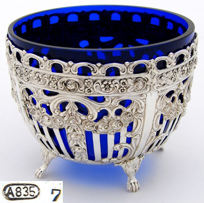 Vintage Belgian  Continental .835 (almost sterling) Silver & Cobalt Glass Sugar or Bonbon Bowl, Dish