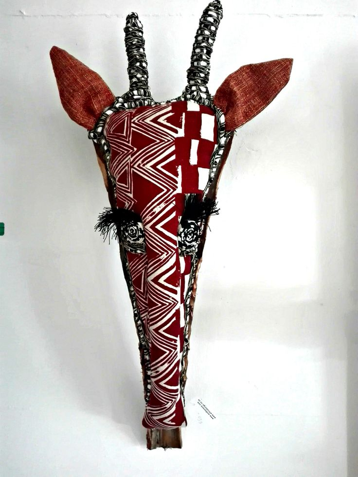 hand painted textile faux taxidermy hunting trophy-mounted on palm leaf giraffe -made in cape town