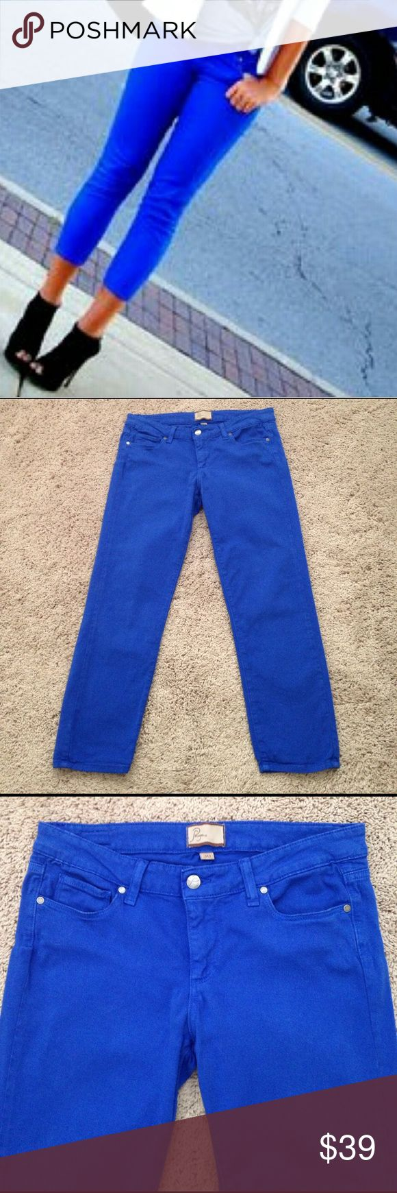 """Paige Jeans Paige Roxie Capri Jeans in a gorgeous bright blue color. These are super soft, 98% cotton, 2% spandex. Measurements are waist laying flat 15"""" across, Rise 9"""", Inseam 24 1/2"""" inches. Good condition!!!💙 Paige Jeans Jeans Ankle & Cropped"""