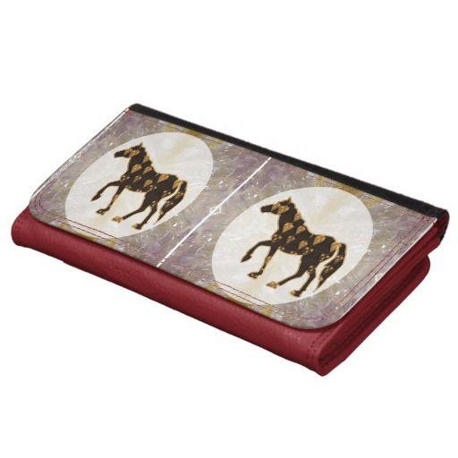 Leather Wallet Smart Art Cute Horse Animal Race