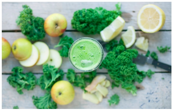 Kale, Apple & Lemon Juice    Makes 2 glasses    5 small organic apples  1/2 lemon, peeled  1 inch fresh ginger, peeled  2 cups fresh kale, this stems removed  ice    Add all the ingredients in a juice machine on highest speed. Taste it. If it is too tart add more apples, too sweet, add more ginger and lemon. Serve ice cold.   If you don't have a juice machine try making it in a blender and then filter everything through a cheese cloth.  Enjoy ice cold.