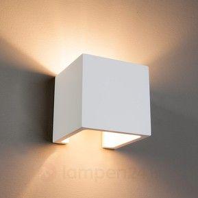 Bescheiden halogeen wandlamp Freja van gips