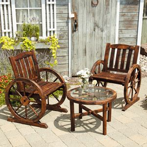 Love this for the deck/patio Boards, Wagon Wheels, Wheels Wooden, Patios Furniture, Back Porches, Wooden Bistros, Bistros Sets, Rustic Outdoor, Front Porches