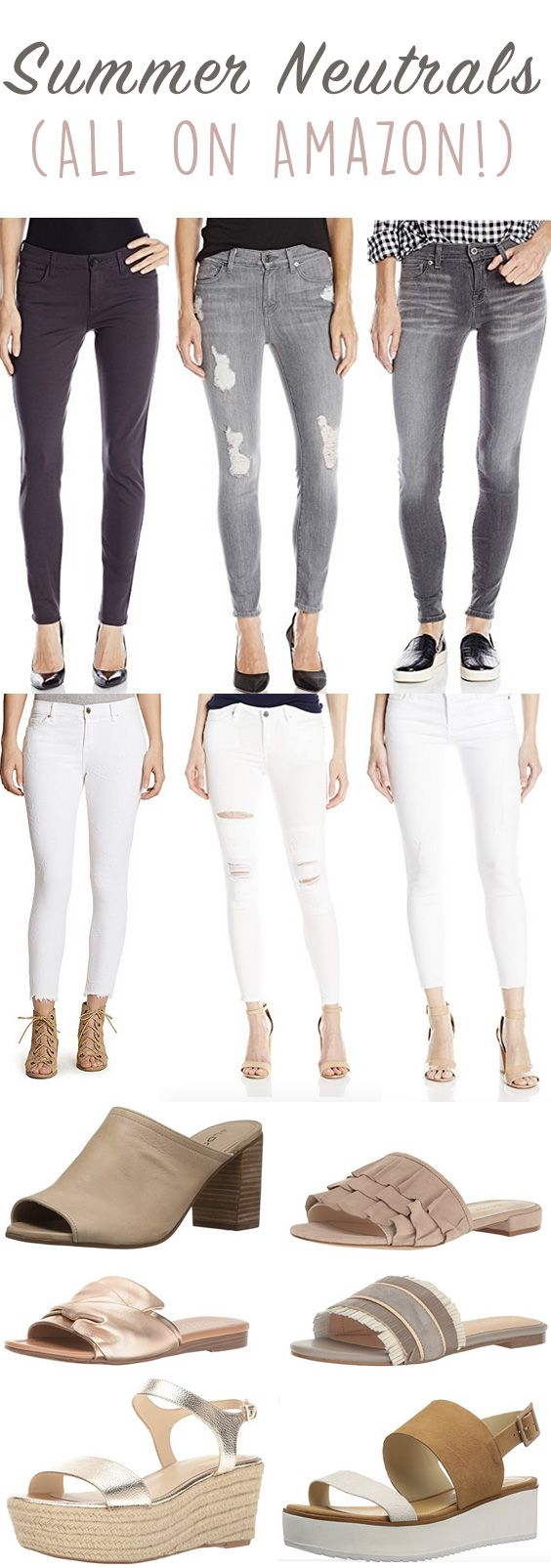 Summer Neutrals on Amazon! The best summer neutral jeans that will have you stylish all year! These soft color palettes will complete your outfits & have you looking chic. Chic summer neutrals are always in style & perfect for starting a capsule wardrobe. Classy neutral sandals,   stylish pants & the best white jeans.
