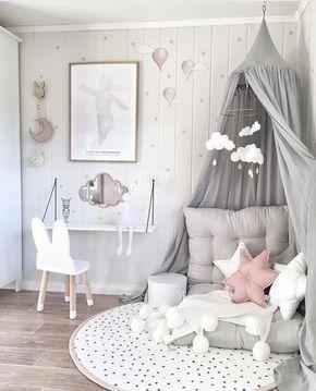 Chambre d'enfant en gris, rose blanc., #Grey #kinderzimmer #rose # white,