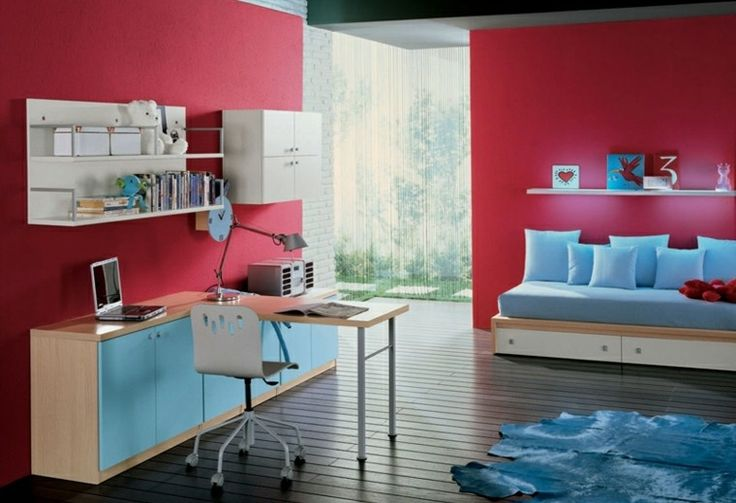 dormitorios juveniles paredes rojas escritorio azul ideas