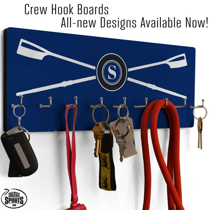 Rowers and crew members will love our new crew hook boards, ideal for hanging hats, belts, keys, and other small accessories. They can also be used as medal displays!
