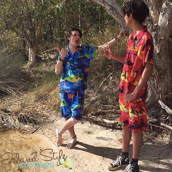 Cabana Set - Hawaiian Shirt & Shorts. Groovy set for schoolies or beach party. Tacky Tourists for halloween costume or luau.