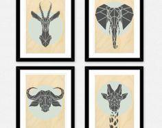 Conjunto de 4 mixtos geométrica animales de Safari por Stencilize