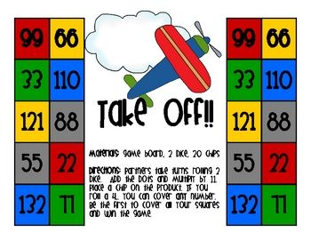 Help your students learn their 11 times tables with this fun, 1 page game.  Print the colorful game board in color or on bright cardstock and laminate. Provide die, chips and beans along with a few minutes to work with partners to practice their multiplication facts.