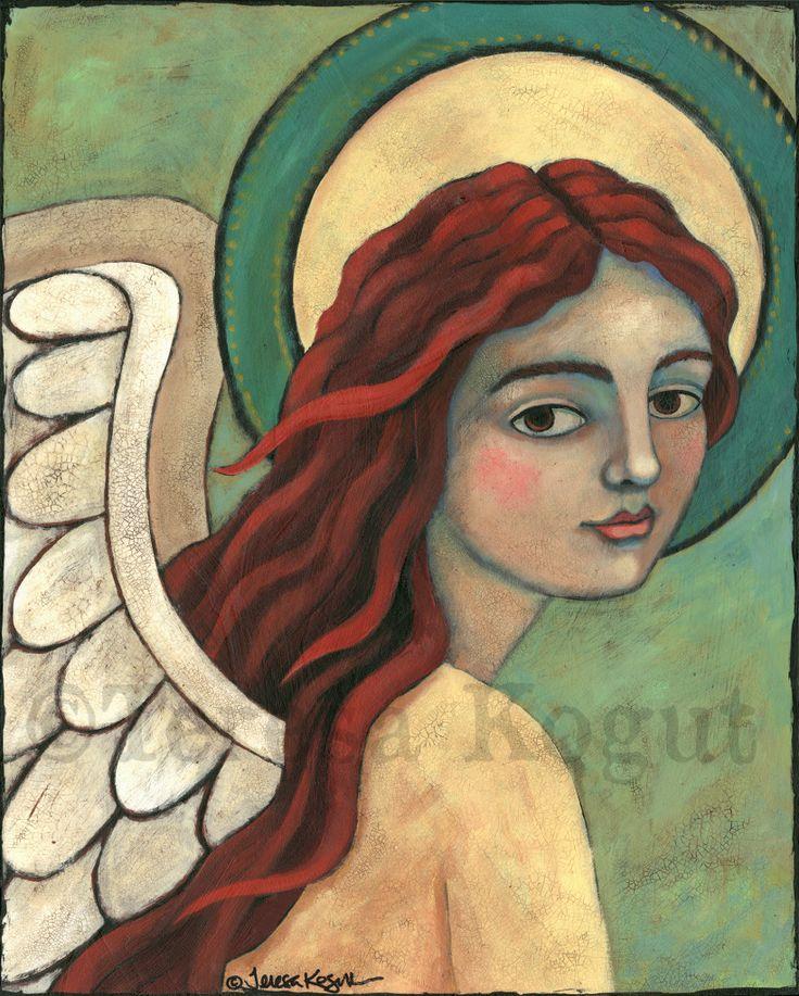 Tenderness original acrylic painting ©Teresa Kogut #angel #art #painting…