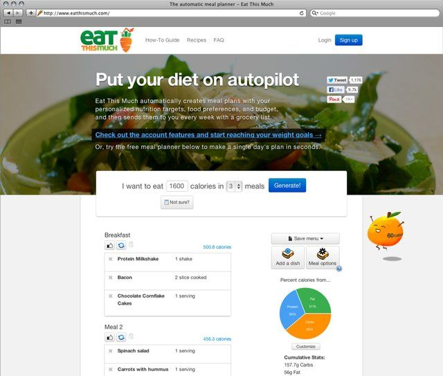 Meal-planning site Eat This Much plays part of virtual nutritionist