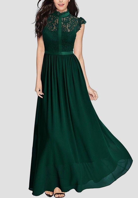 ead8e785ce8a4 Grün Flickwerk Spitze Cut Out Rückenfreies Drapiert Elegantees Maxikleid  Abendkleider Lang