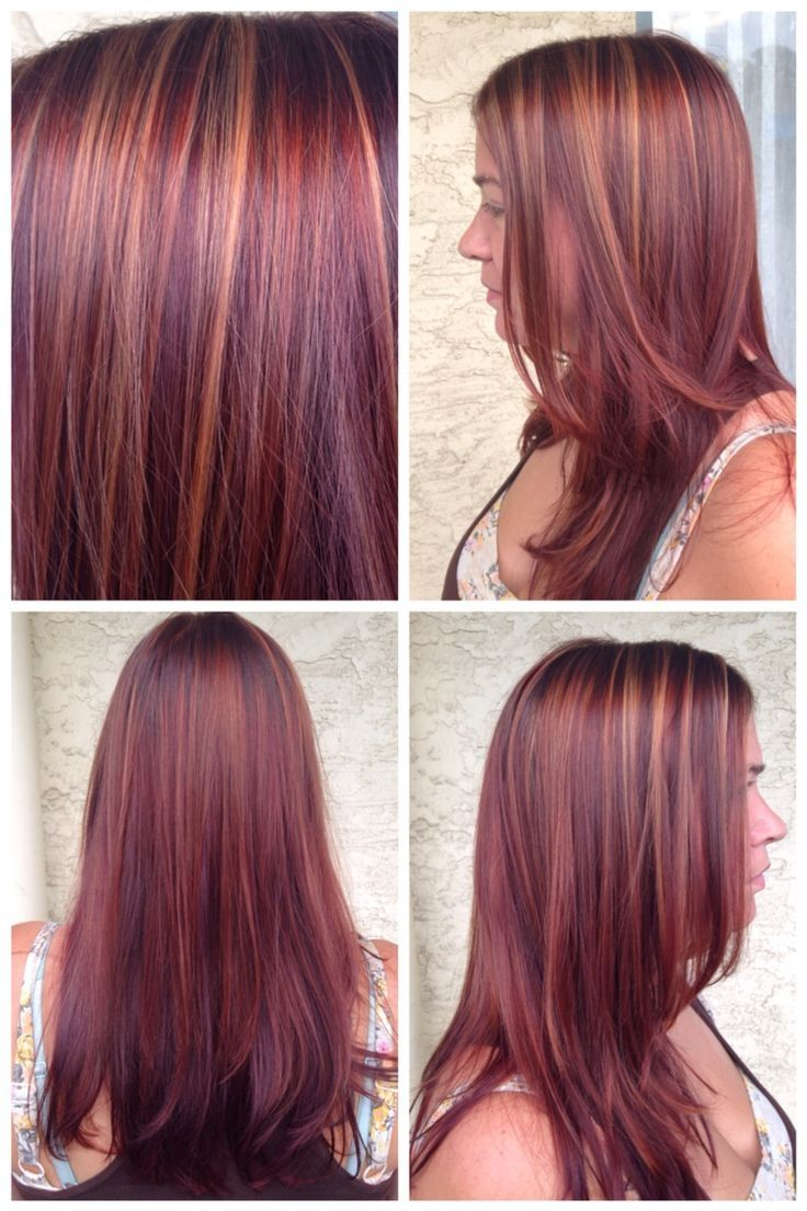 Copper And Violet Highlights On Auburn Hair Light Brown