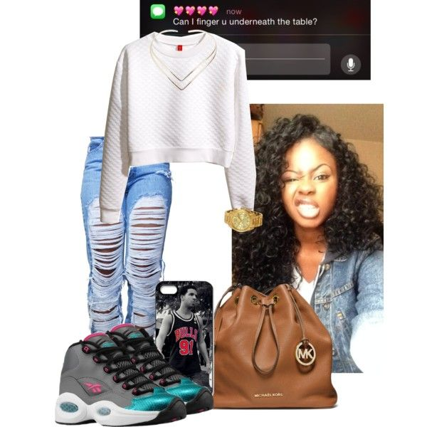 A fashion look from February 2015 featuring white tops, grunge jeans and michael kors handbags. Browse and shop related looks.