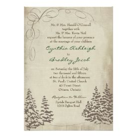 Vintage Evergreen Wedding Invitation 5