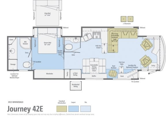 Bath and a half floor plan journey 42e winnebago for Half bath floor plans