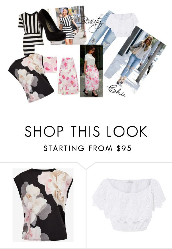 """""""._."""" by beckareka on Polyvore featuring Topshop, Current/Elliott, Victoria Beckham, Ted Baker, Miguelina, Michael Antonio, Spring, blackandwhite, fashionset and fallwedding"""