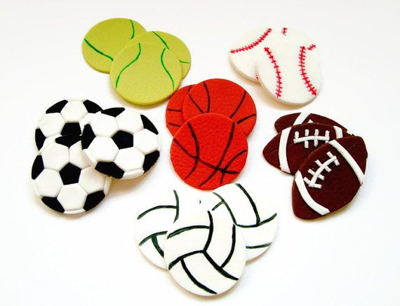 Sport Balls Fondant Edible Cupcakes by SweetCakeByAnastasia
