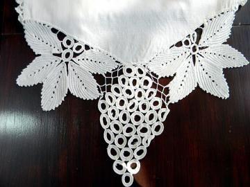 Linen Table Runner with Knotted Crochet Grape Border Work 5838 by VintageKeepsakes for $25.50