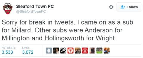 Sleaford Town's Twitter man comes on as substitute