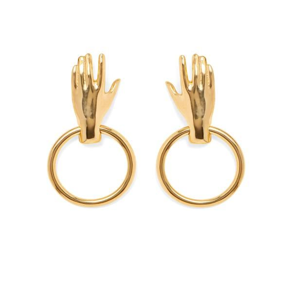 Lady Grey Hand Hoop Earring in Gold. Handmade in New York.