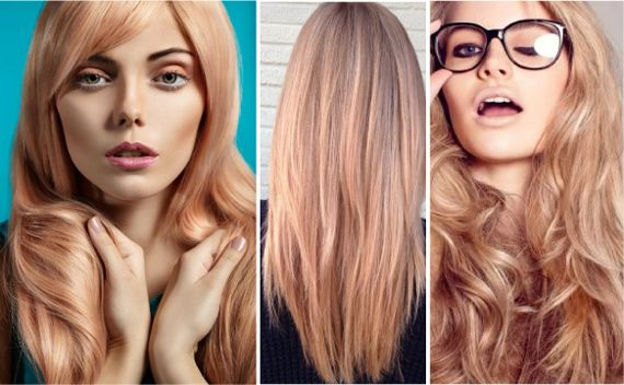Модные цвета волос. Золотисто-розовый цвет волос. Клубника и шампанское Золотисто-розовый цвет волос – это сложный оттенок блонда, с едва уловимым медным подтоном. Конечно, лучше всего он будет смотреться на блондинках со светлой кожей, но вполне подойдет для светлых рыжеволосых девушек. Необычный и стильный, он ломает представление о блондинке «золотой», подменяя его невероятно сочной, нежной и женственной нимфой.